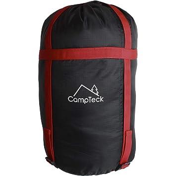 CampTeck U6954 - Funda Compresion Saco Ligera Bolsa de Viaje Bolsa Compresion Resistente al Agua para Saco de Bormir, Almacenar Ropa, Camping - Negro