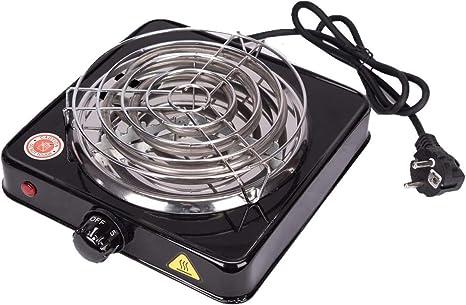 Kertou Cocina eléctrica para Shisha cachimba Hookah, Hornillo eléctrico para carbón Camping para cocinar carbón 1000W (Negro): Amazon.es: Deportes y aire libre