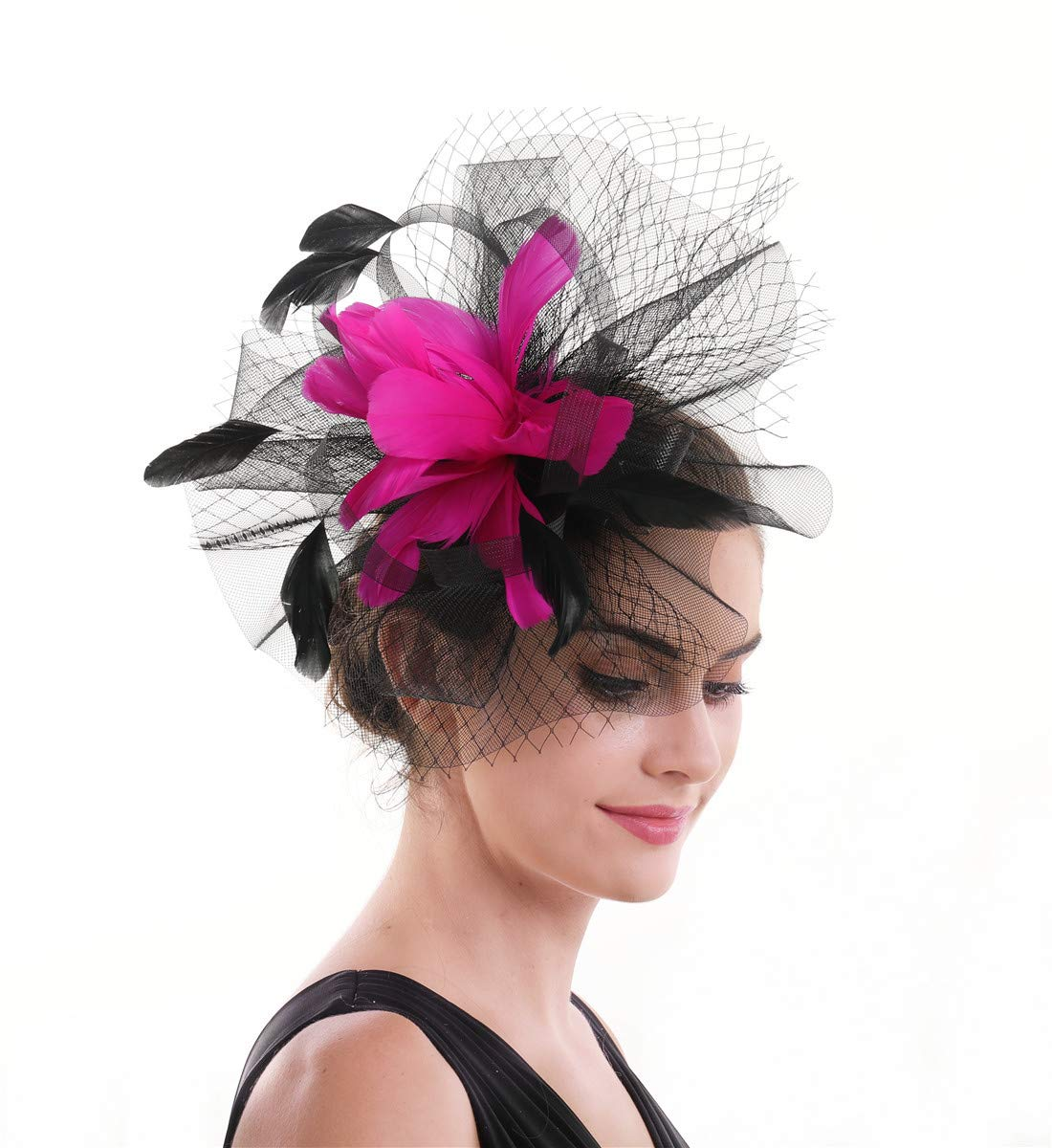 SAFERIN Fascinator Hat Feather Mesh Net Veil Party Derby Hat with Clip and Hairband for Women (b-Black Fuchsia) by SAFERIN