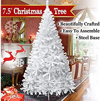 BenefitUSA Classic Pine Artificial Christmas Tree With Metal Stand, 7.5u0027  White