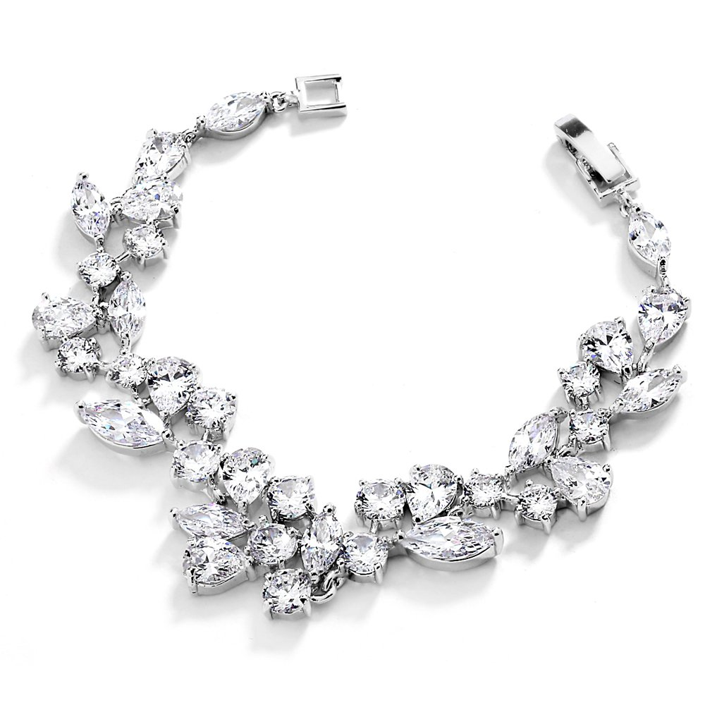 Mariell Mosaic Shape Cubic Zirconia Bridal and Wedding Bracelet for Brides with Marquis and Round CZ Gems 4129B-G-6