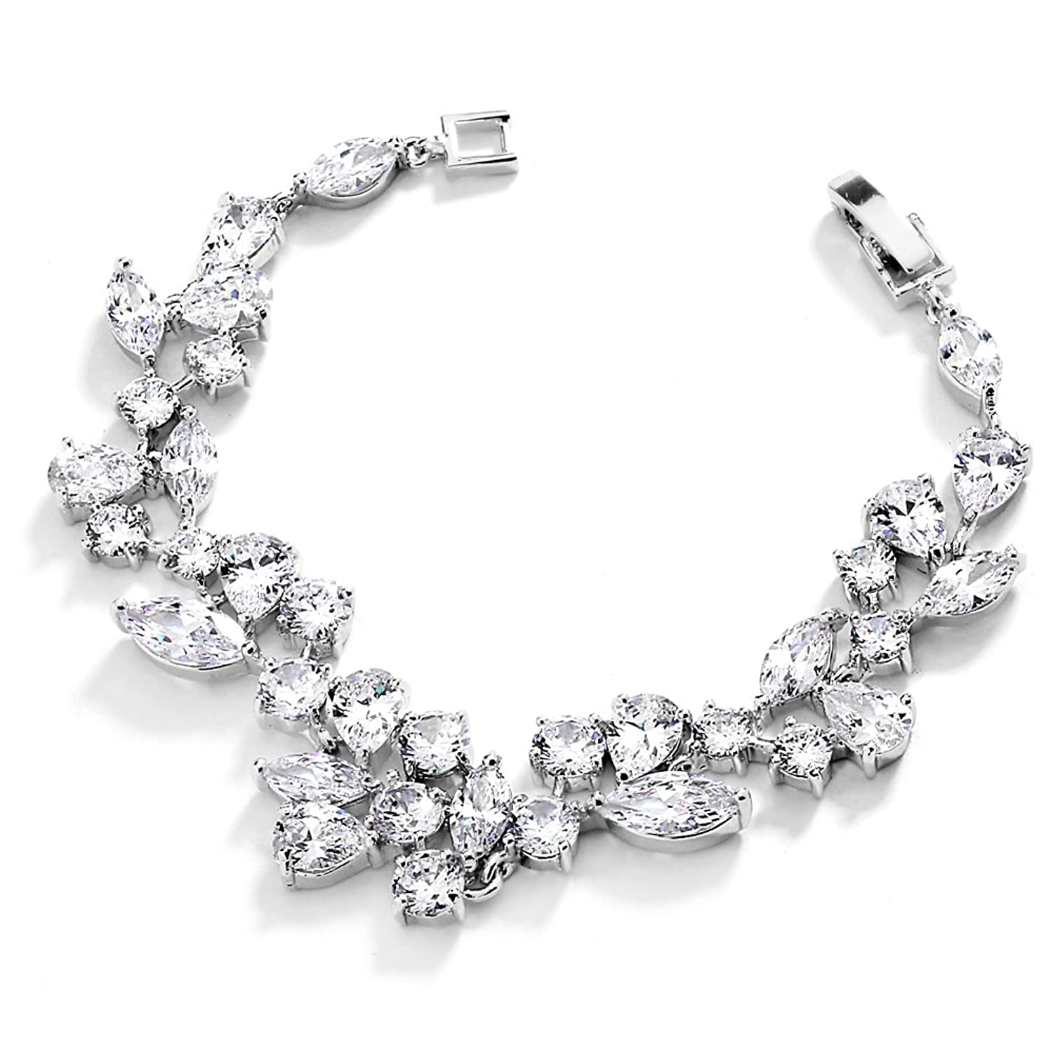 Mariell Mosaic Shape Cubic Zirconia Bridal And Wedding Bracelet For Brides with Marquis and Round CZ Gems