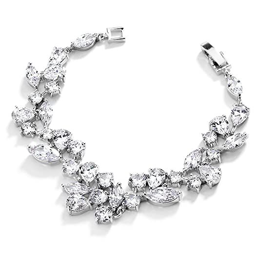 Amazon Mariell Mosaic Shaped CZ Wedding Bracelet in Silver