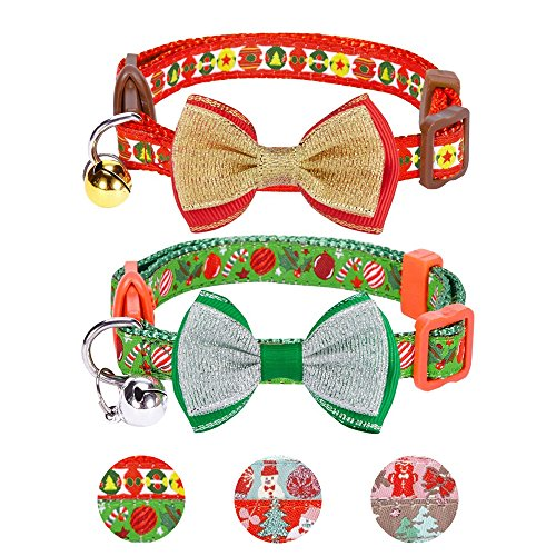 Blueberry Pet Pack of 2 Cat Collars, Holiday Fun Celebration Finale Adjustable Breakaway Cat Collar with Bow Tie & Bell, Neck 9