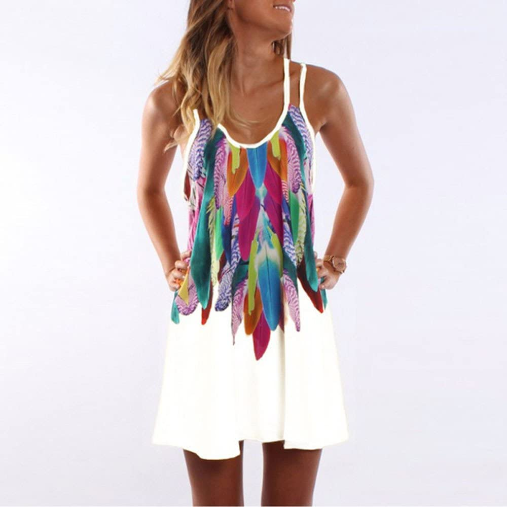 Hotkey Womens Casual Vintage Sleeveless Spaghetti Strap Short Mini Dress Summer Bohemian Print Cocktail Party Sundress