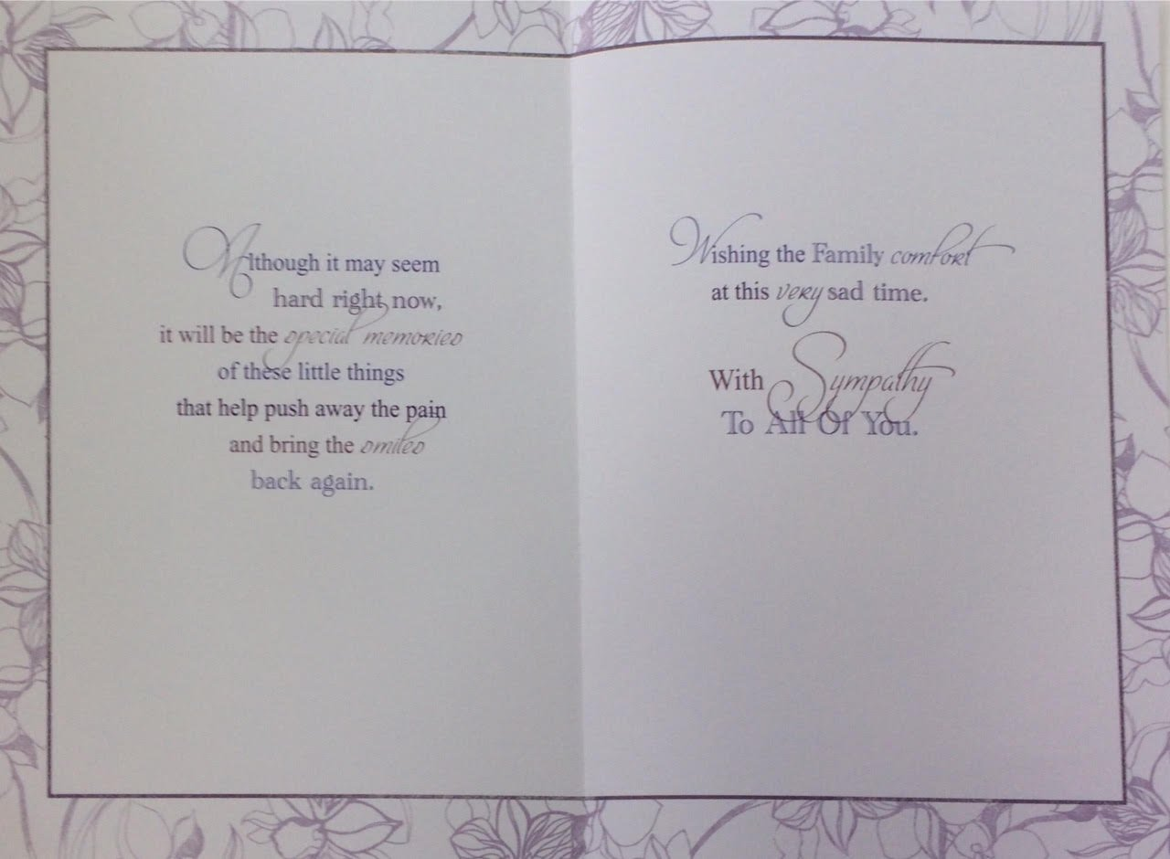 Sympathy Card - To All The Family With Sympathy At This Sad Time Thinking of you
