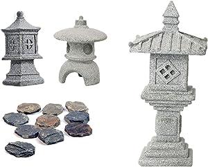Miniature Fairy Garden Decoration Set,3 Japanese Lantern,10 Stepping Stone Mini Fairy Decor for Garden & Patio Micro Landscape Yard Bonsai Decoration
