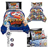Yo-Kai Watch Kids Twin Bedding 5 Piece Set - Reversible Comforter, Sheet Set with Reversible Pillowcase and Yo-Kai Watch with Two Exclusive Medallions