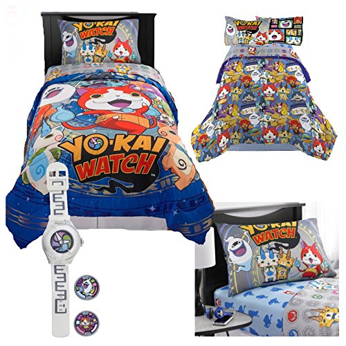 Price comparison product image Yo-Kai Watch Kids Twin Bedding 5 Piece Set - Reversible Comforter, Sheet Set with Reversible Pillowcase and Yo-Kai Watch with Two Exclusive Medallions
