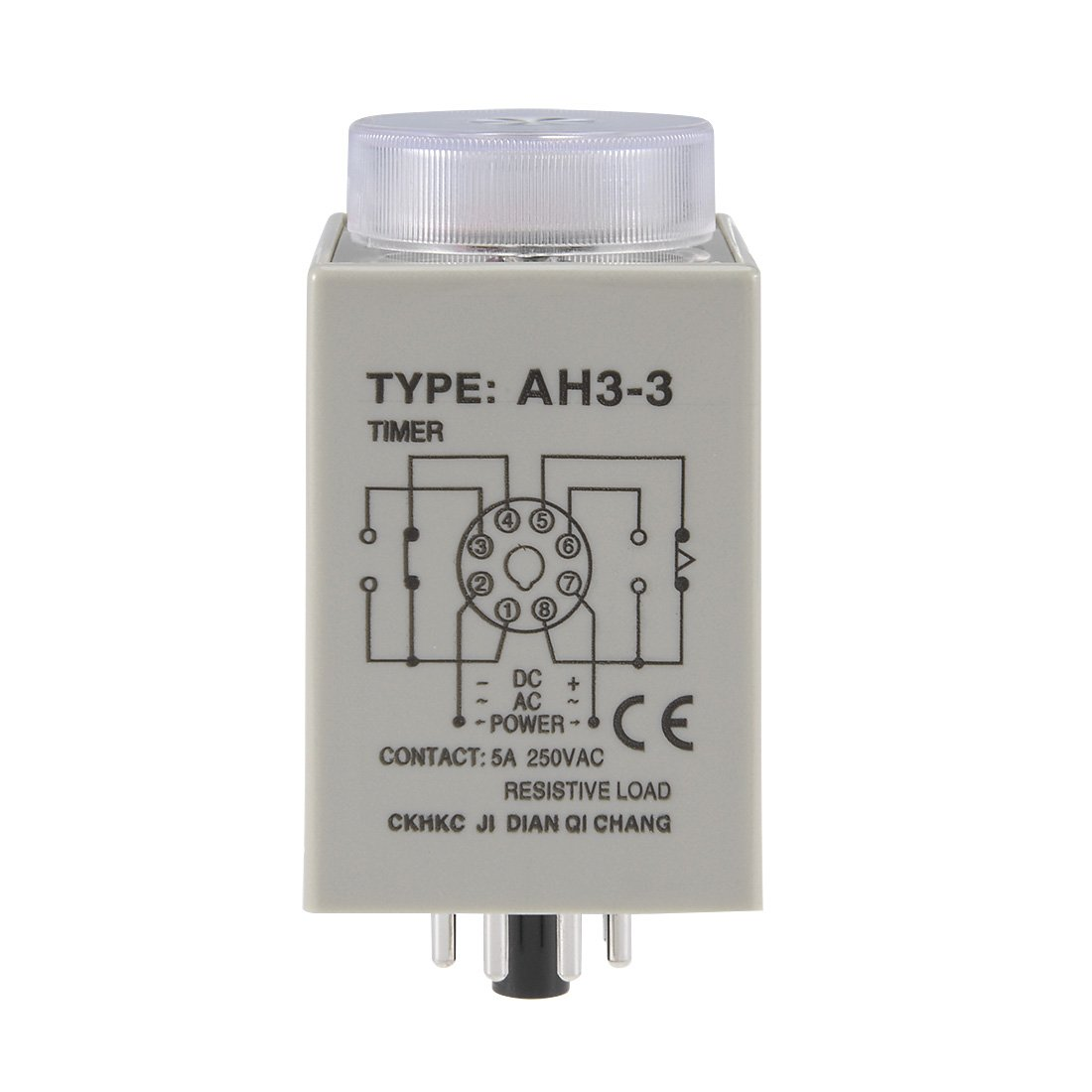 Uxcell Ac110v 6m 8 Terminals Range Adjustable Delay Timer Time Relay Digital Stopwatch 060sec Circuit Ah3 3 With Base