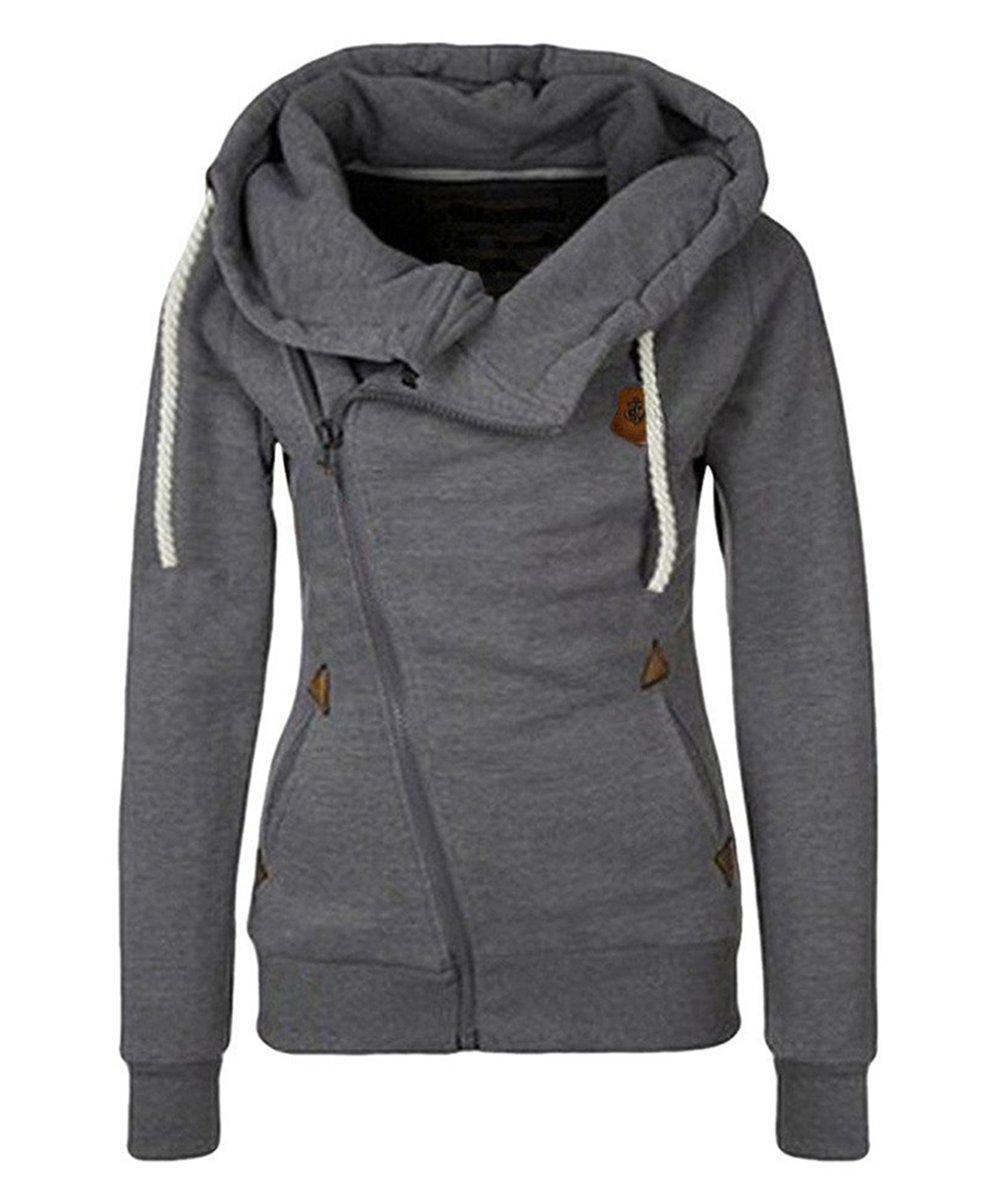 Lofan Women's Fleece Lined Hoodie Casual Oblique Zipper High Neck Hooded Jacket, Dark Grey, Tag 2XL=US XL by Lofan