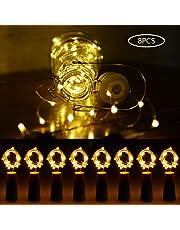 Faburo 8 pcs Bottle Lights with Cork,LED Cork Lights for Bottle Copper Wire Bottle Lights for DIY, Party, Decor, Christmas, Halloween,Wedding, Battery Powered (Warm White)