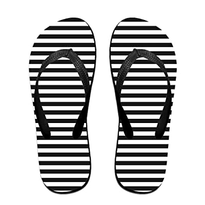 Double Happiness Summer Unisex Black Stripes Classical Comfortable Flat Beach Wedge Sandals