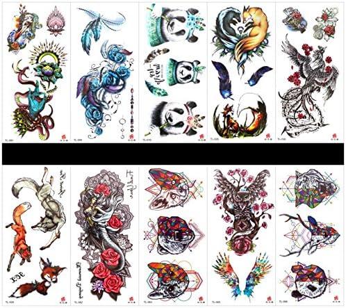 Interookie - 10 pegatinas de tatuaje falsos para tatuajes de panda ...