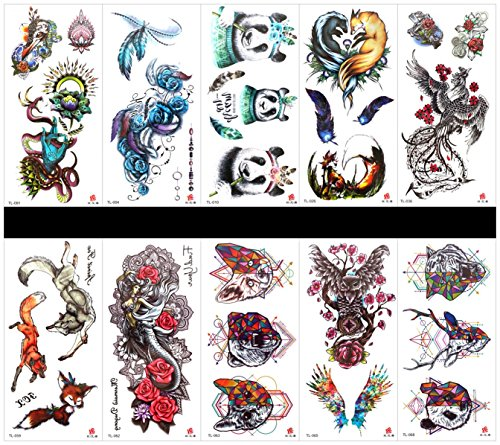 Interookie 10pcs fake tattoo stickers panda temporary tattoos in one packages,mixed designs as phoenix,fox,angel,animal head,dragon,feather,rose,panda,owl,etc. ()