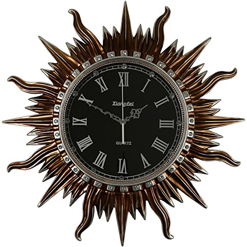 Hanging Roman Bronze - TNKML Large Indoor Decorative Wall Clock Retro Classic Living Room Kitchen Hanging Table Sun Country Mute Hotel Digital Quartz Clock 20 Inch, Bronze Roman