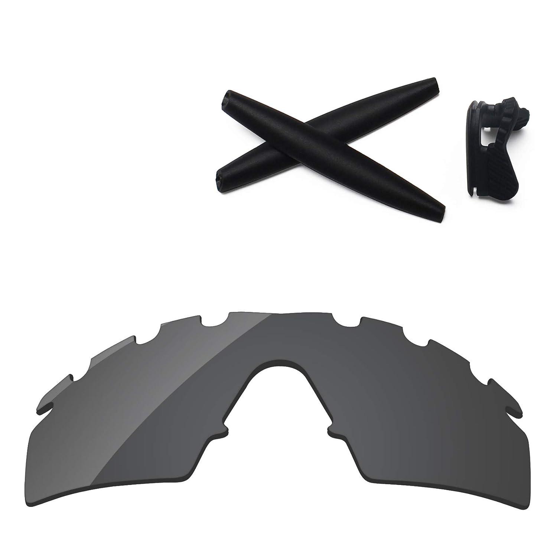 3dc5a7fe5b56e Amazon.com  PapaViva Lenses Replacement   Rubber Kits for Oakley M Frame  Strike Vented Black Grey  Clothing