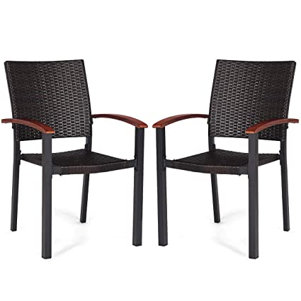 Amazon.com: Jur_Global - 2 sillas de comedor apilables de ...