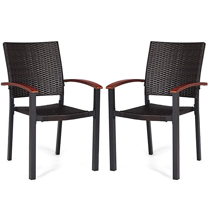 Amazon.com: FDInspiration - 2 sillones apilables de ratán ...