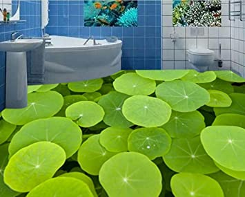 3d Fußboden Fürs Badezimmer ~ Malilove d stock lotus leaf d tapeten pvc boden wallpaper d für