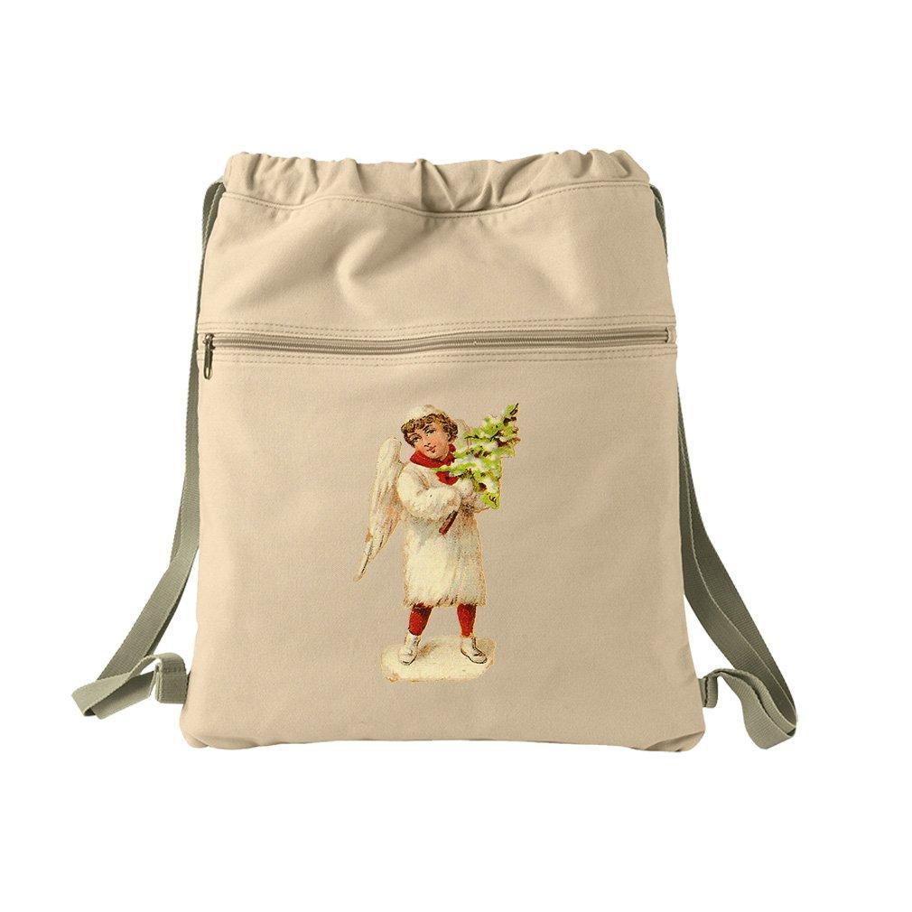 Angel White Coat Holds Christmas Tree #1 Canvas Dyed Sack Backpack Bag