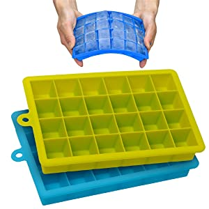 Stephenie Easy Release Silicone Ice Cube Trays with Lid 2 Set 24 Cubes Each FREEZERS No Odor or Aftertaste