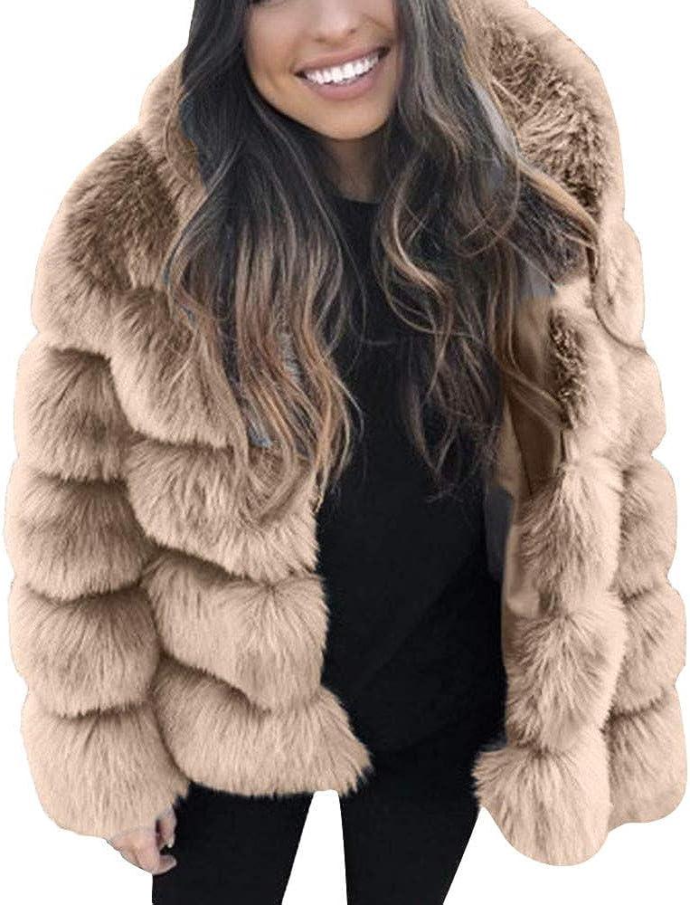 Luckycat Abrigos Mujer Invierno Rebajas Elegantes Talla Grande Piel SintéTica Moda con Capucha Abrigo CáLido De Invierno De OtoñO