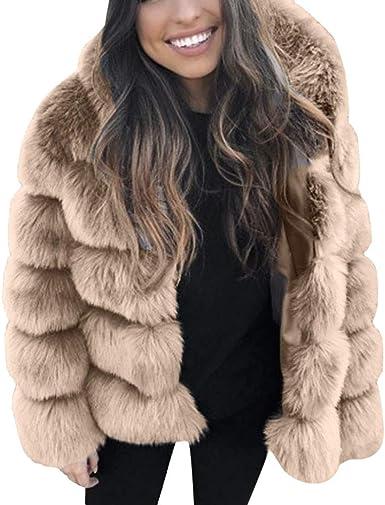 KEERADS Femmes Mode Élégant Vison Manteaux Hiver Encapuchonné Nouveau Fausse Fourrure Solide Peluche Veste Chaud Épais Vêtements d'extérieur Outwear