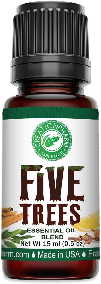 Creation Pharm Five Trees Aromatherapy Essential Oil Blend– Cinnamon, Frankincense, Clove, Lemon, Eucalyptus, Rosemary 15 ml, for Diffuser, Colds, Cleansing, Meditation, Purification