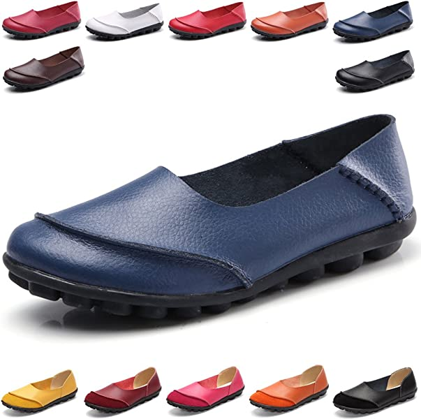 4dc2dacd774 Hishoes Women s Leather Loafers   Slip-Ons Flats Driving Walking Casual  Moccasins Soft Sole Shoes
