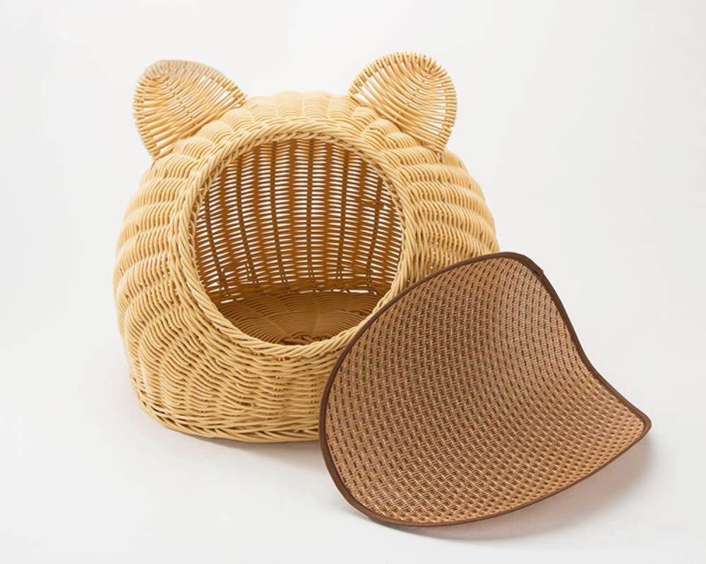 Ear style small Ear style small DLwbdx Wicker-woven Cat House Seasons General Cool Closed Cat and Pet Dog House Bed with Cushion,Ear style,small