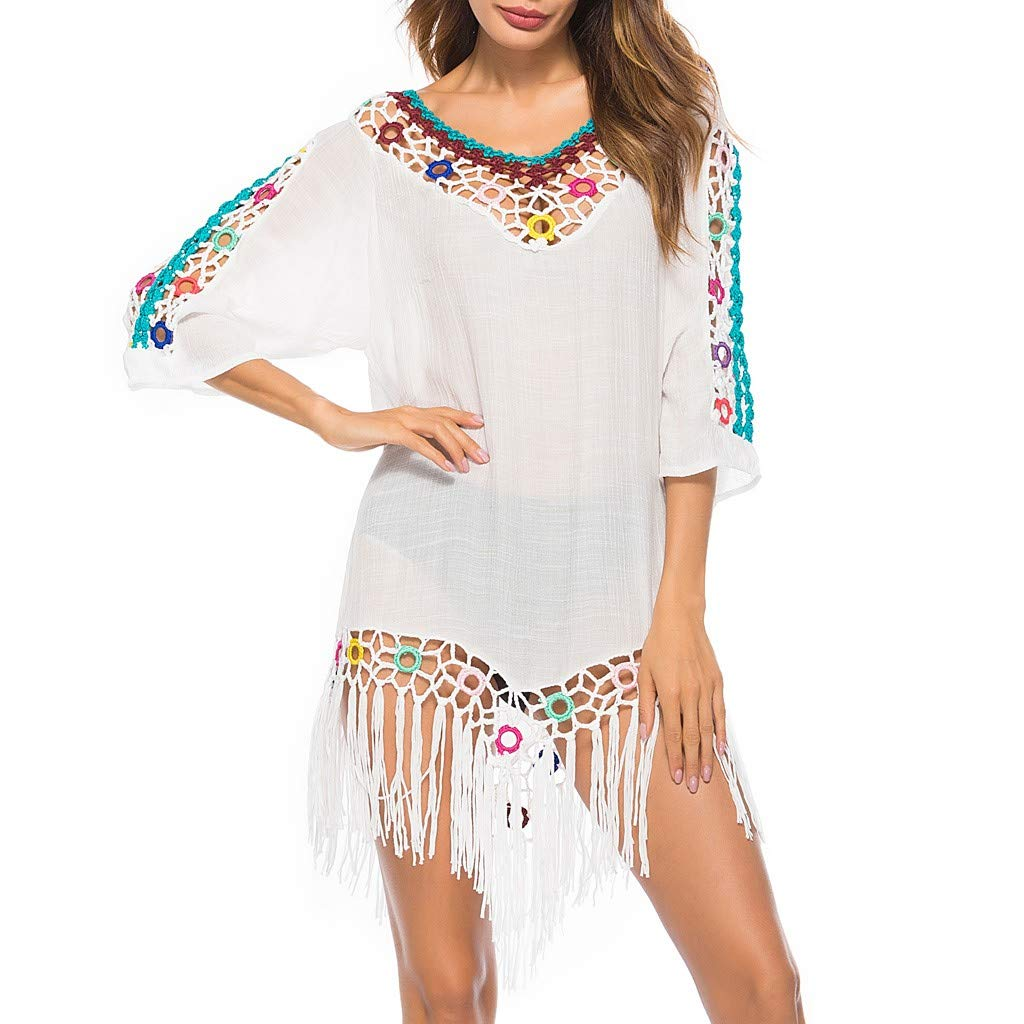 AIEason Ladies Bikini Fringed Blouse Womens Ring Hooks and Bohemian Solid Color Windy Beach Sunscreen Shirt White