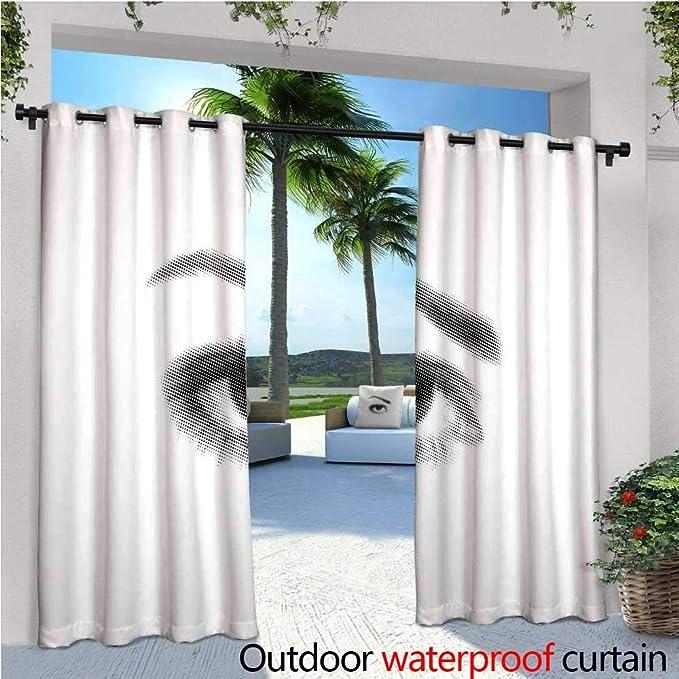 CobeDecor Cortina de privacidad para el aire libre para pérgola con diseño de ojo femenino con pestañas largas y una ceja curva con aislamiento térmico y cortina repelente al agua para balcón,