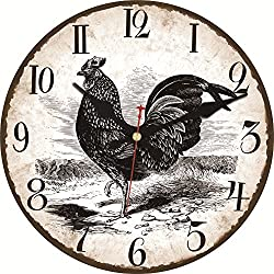 MEISTAR Wooden Simple Wall Clock,12 Inch Black Rooster Pattern Antique Vintage Decorative Arabic Numerals Wall Clock for Kitchen,Living Room,Bedroom