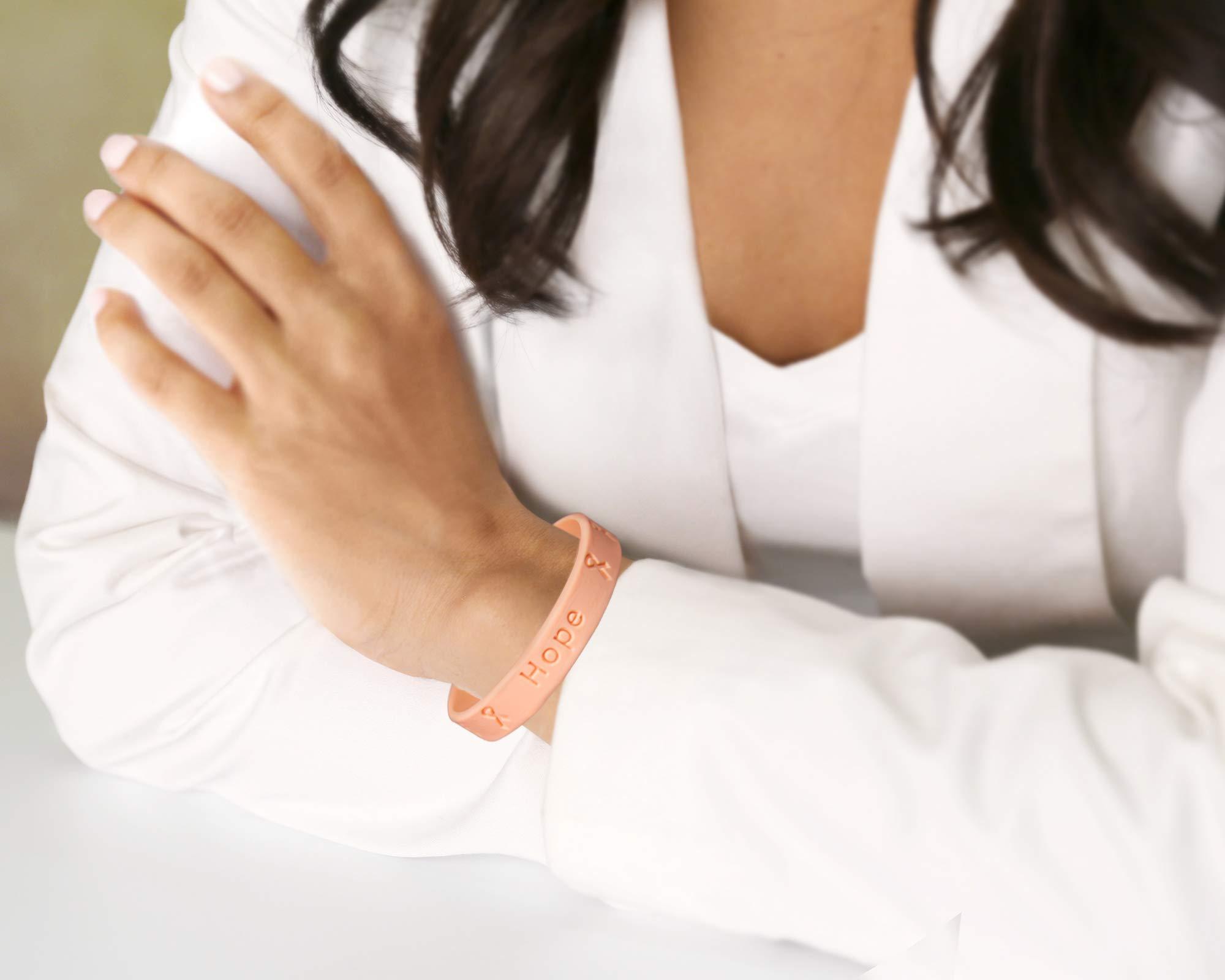 50 Pack Peach Awareness Silicone Bracelets (Wholesale Pack - 50 Bracelets)