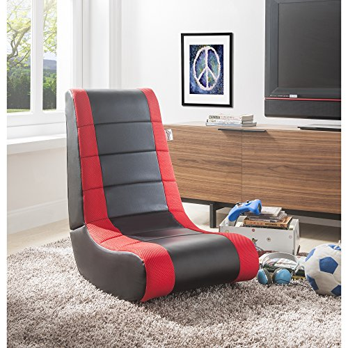 RockMe PU Leather Gaming Chair - Black & Red | Foldable | Ergonomic | Kids, Teens, Adults | Loungie