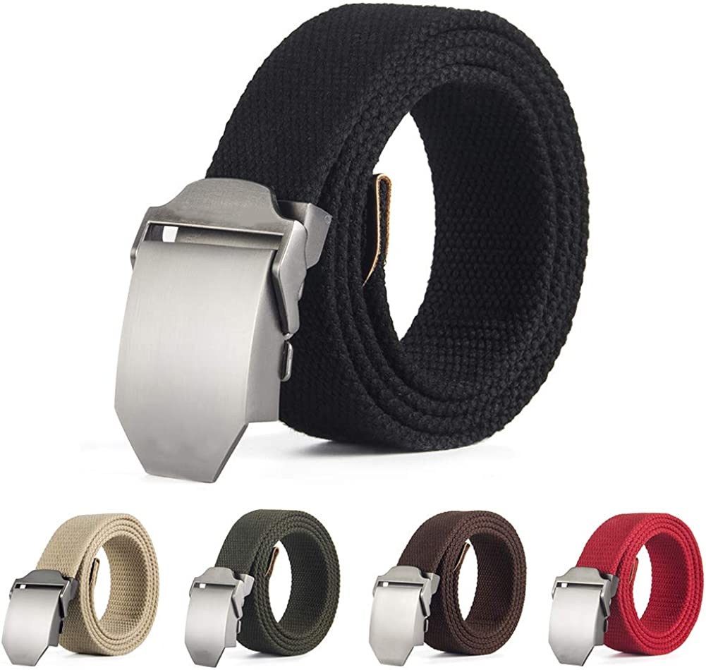 Alamana Canvas Automatic Buckle Casual Fashion Mens Belt Solid Color Waist Strap Waistband Black