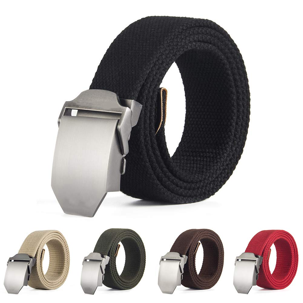 Softmusic Casual Men Automatic Buckle Belt Solid Color Waist Strap Waistband Clothing Accessories