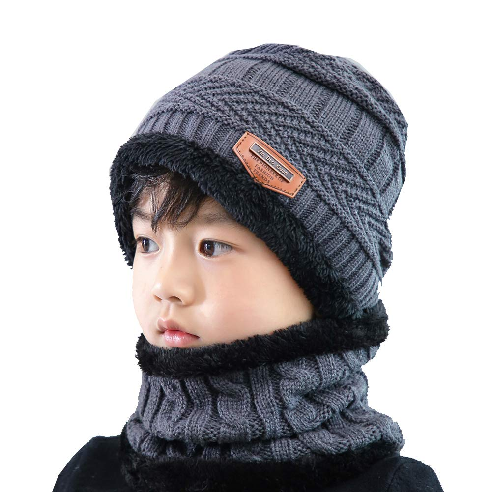 Kids Boys Girls Winter Hat Scarf Set 2 Pcs Knitted Beanie Warm Cap and Neck Warmer (Grey 3-8 Years Old)
