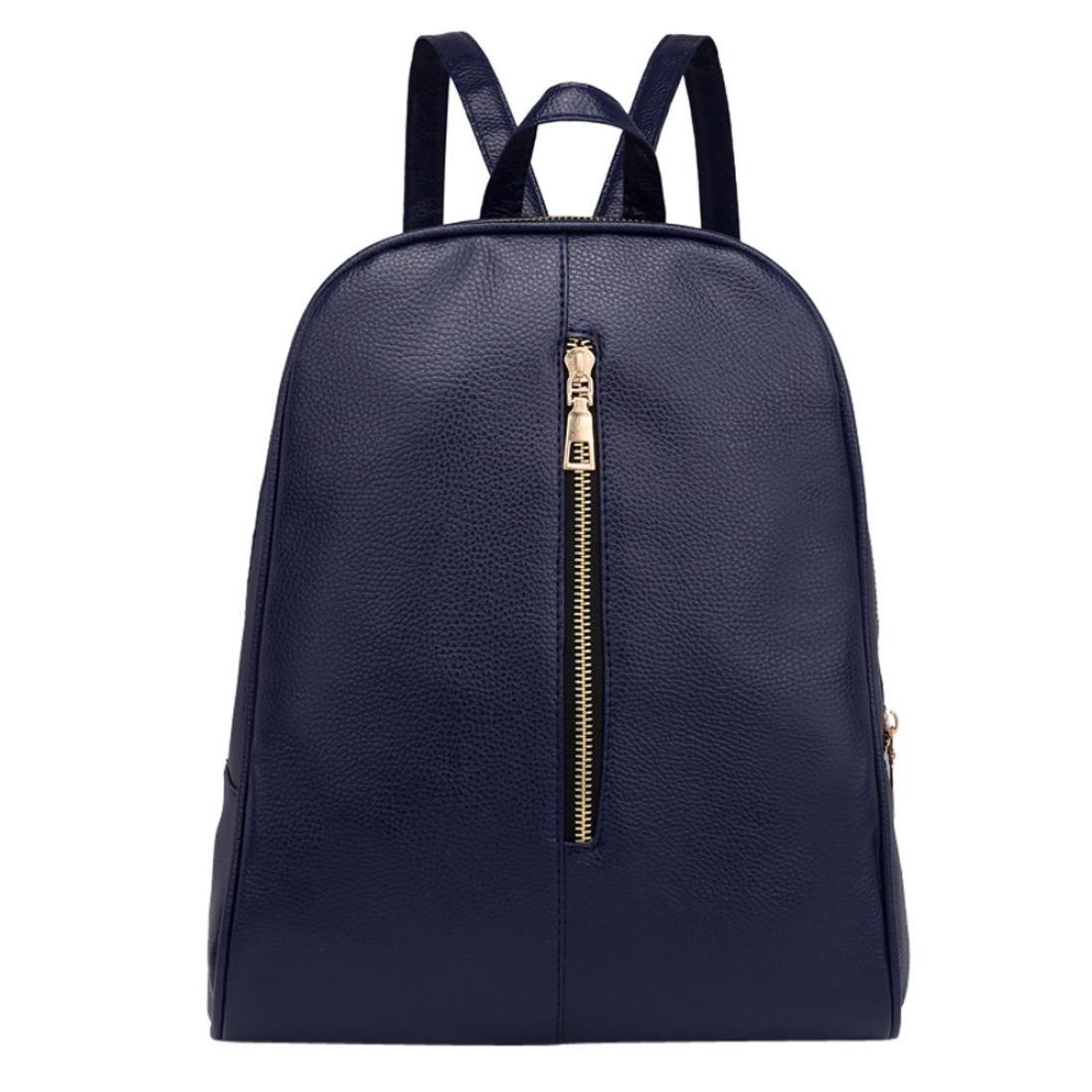Amazon.com: YJYDADA Bags,Woman Fashion Leather Backpack Female Preppy Style Zipper Mochila School Bag (Deep Blue): Kitchen & Dining