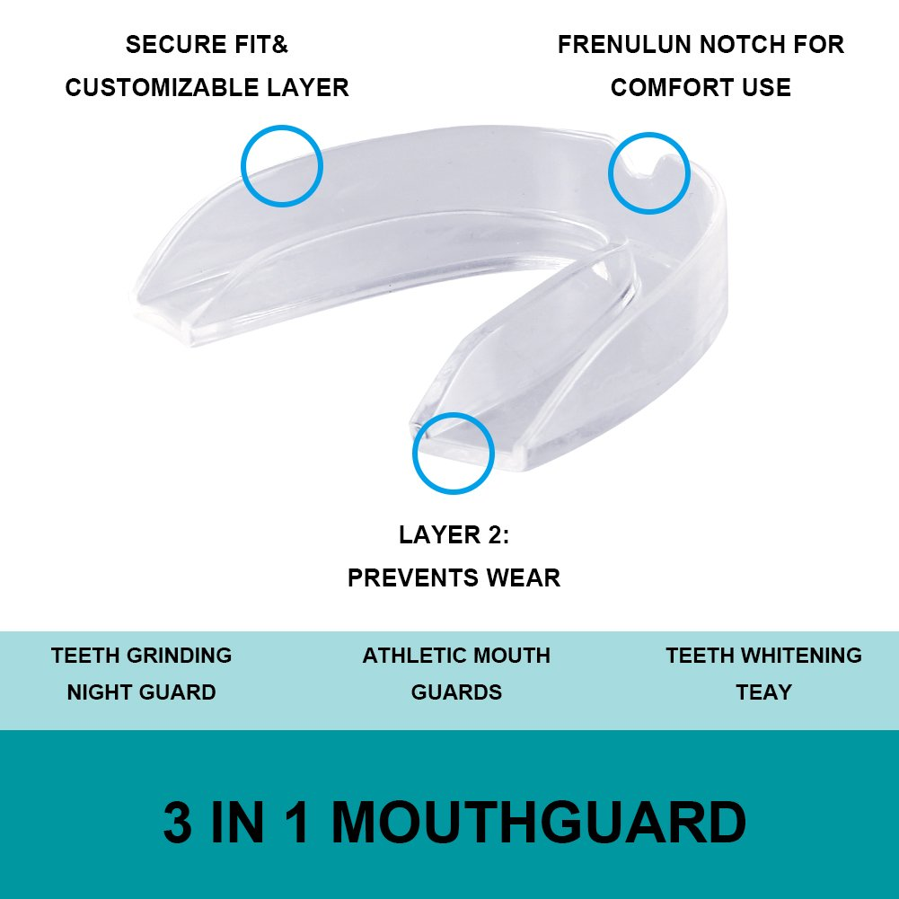 Professional Dental Sleep Mouth Guards - Pack of 6 - Eliminates Teeth Grinding Clenching Bruxism TMJ, BPA-Free Custom Mouldable Snore Night Guards Mouthpiece for Youth Women Men Boys Girls Adult