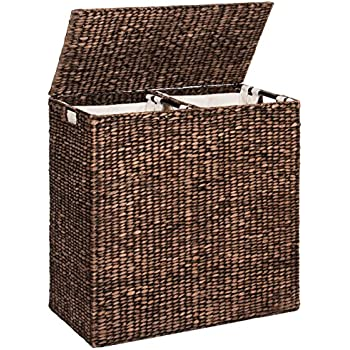 Best Choice Products Water Hyacinth Double Laundry Hamper Basket W/ 2 Liner Basket Bags Brushed Espresso