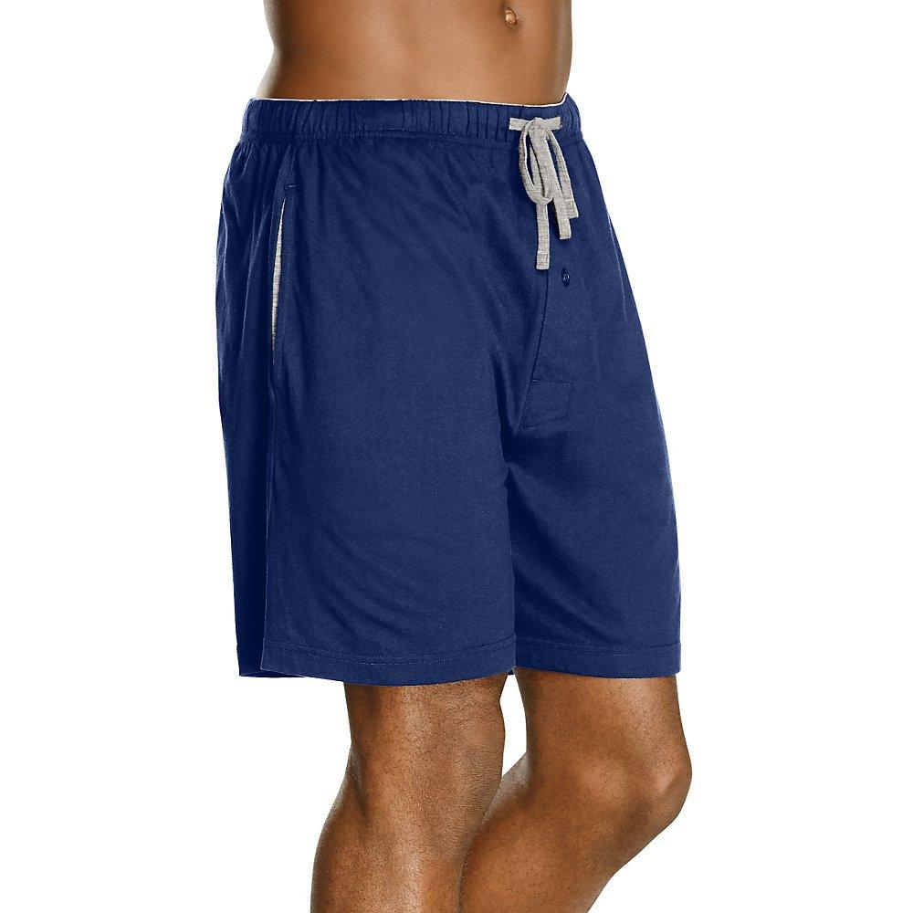 Hanes Mens Jersey Lounge Dstrng Shorts W//Logo W.Band 2PK/_Blu Dp//A.GRY HR/_2XL