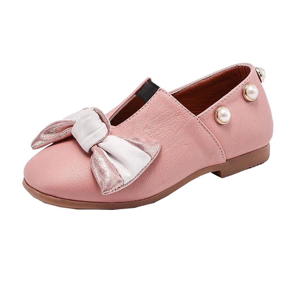 BININBOX Kids Bowknot Girls Dress Shoes Pearl Flat Girls Shoes Princess (9.5 M US Toddler, Pink)
