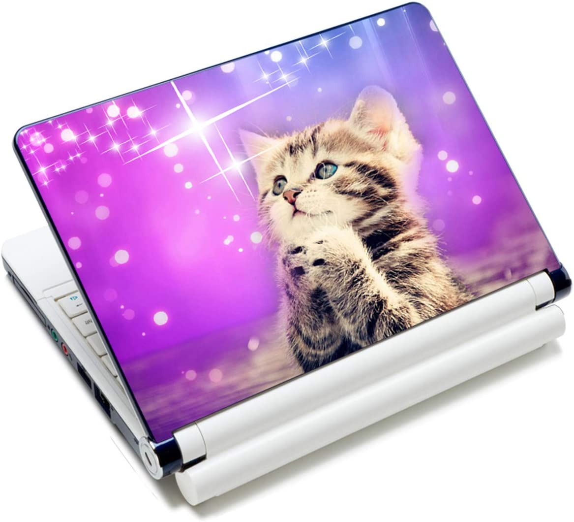 "Laptop Skin Sticker Decal,12"" 13"" 13.3"" 14"" 15"" 15.4"" 15.6"" Laptop Skin Sticker Protector Cover for Toshiba Hp Samsung Dell Apple Acer Leonovo Sony Asus Laptop Notebook (Purple Wish Cat)"