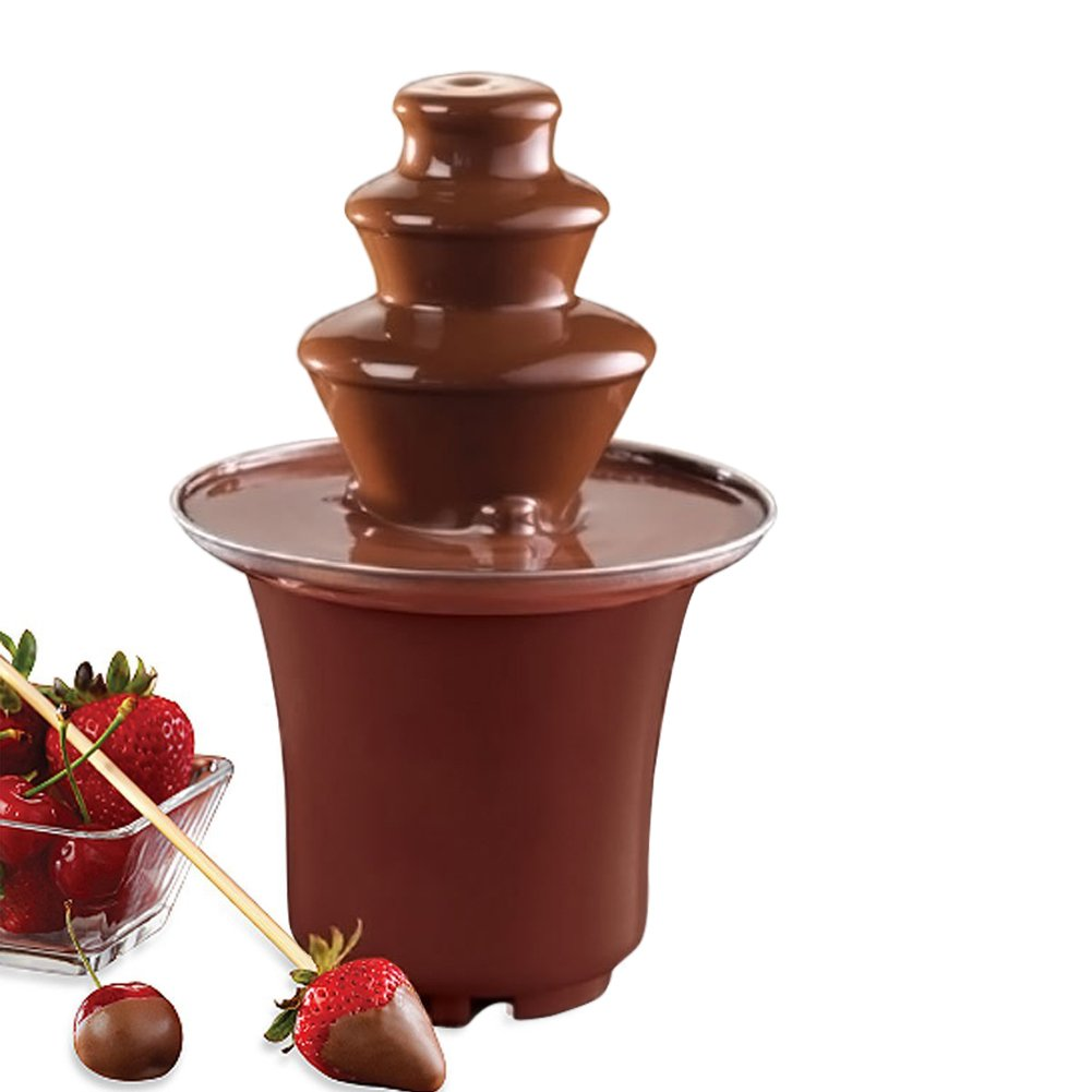 LOBZON 3-Tier Stainless Steel Party Chocolate Fondue Fountain, Chocolate color