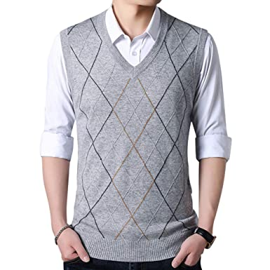 9bf6398f6cc2f BrownFairwhale Mens V-Neck Sleevless Knitted Gilets Tank Tops Business  Gentleman Knitwear Pullover Top Jumper  Amazon.co.uk  Clothing