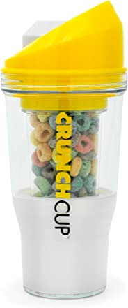 The CrunchCup - A Portable Cereal Cup - No Spoon. No Bowl. It's Cereal On The Go. (Yellow)