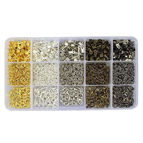 LolliBeads 1900Pcs Kit with 5 Colors 150 Pcs Lobster Claw Clasps 12mm and 1250 Pcs Open Jump Rings 5mm and 500 Pcs Iron Fold Over Cord Ends for Leather 3mm for Jewelry Making Findings