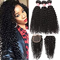 Pizazz Brazilian Curly Hair with Closure Unprocessed Brazilian Virgin Hair 3 Bundles with Closure Free Part 100% Human Hair Bundles (16 18 20+14closure)